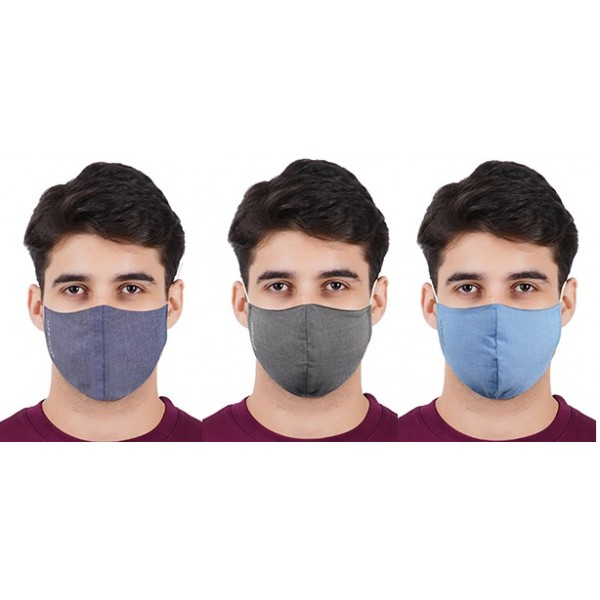 3 Layer Protective Cotton Face Mask for Men - Assorted - Free Size (Pack of 3)