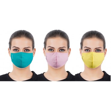 3 Layer Protective Cotton Face Mask for Women - Assorted - Free Size (Pack of 3)